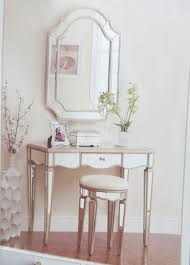 contemporary dressing room with single drawer mirrored vanity set