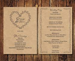 print wedding programs editable wedding program rustic kraft wedding program