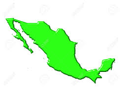 mexico 3d map with national color isolated in white stock photo