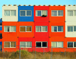 luxury white exterior orange and blue containers home real estate