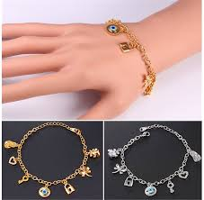 woman charm bracelet images Good sale u7 charm bracelet women gold plated fashion link bear jpg