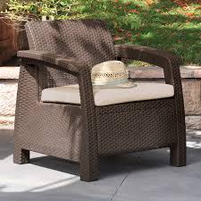 Wicker Chair Keter Corfu Outdoor Armchair Brown Hayneedle