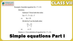 simple equations part i maths class vii cbse isce ncert