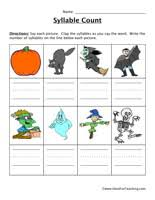 halloween syllable worksheet have fun teaching
