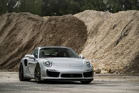 porsche nardo grey a porsche 911 turbo s gets refined thanks to adv 1 wheels my car