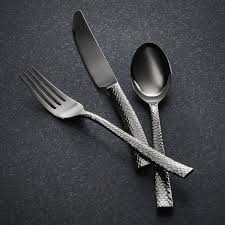 paris hammered titanium cutlery gunmetal 20 piece set