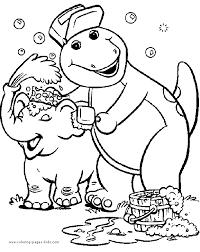 barney color cartoon color pages printable cartoon