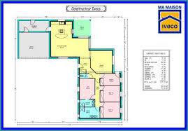 chambre en l plan maison plain pied moderne luxe plan maison en l 4 chambres 2