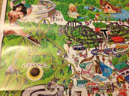 Kentucky Kingdom Six Flags Auctioning Off Four Vintage Six Flags Wall Maps Theme Park Review