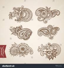 hindu tattoo pattern monochromatic monochrome engraving stock