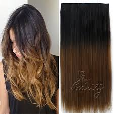 Color Hair Extension by Dip Dye Clip In Long Curly Straight Synthetic 5 16 Clips Ombre