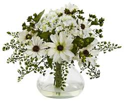Artificial Floral Arrangements Mixed Daisy Floral Arrangement With Vase Traditional
