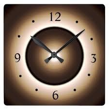 lighted digital wall clock illuminated wall clock tan brown illuminated effect print w square