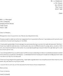nurse resignation letter example u2013 cover letters and cv examples