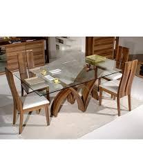 dream furniture teak wood 6 seater luxury rectangle glass top