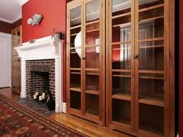 Wooden Bookcase With Doors Backyards Bookcases With Glass Doors Triple Designs Dark Cherry