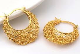 gold earrings design buy 18k real gold plated design hollow flowers hoop