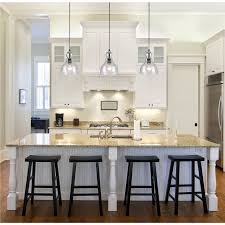 large glass pendant lights for kitchen beautiful kitchen with large clear glass bell jar pendants over