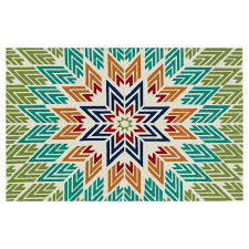 Turquoise Rug 5x7 E135 Aztec Multicolor Rug 5x7 Ft At Home At Home