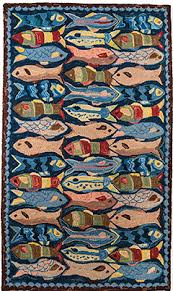 school of fish wool hooked rugs textiles shaker workshops