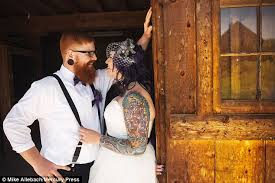 brides show off their tattoos for rebellious wedding photoshoots