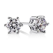 cubic zirconia stud earrings b catcher women earrings 925 sterling silver cut cubic