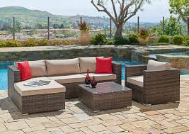 Outdoor Sectional Sofa Cover Suncrown 6 Wicker Outdoor Sectional Sofa Set With Waterproof