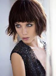 hairstyles with fringe bangs short choppy bob hair style messy layers full bangs fringe within