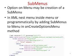 android oncreateoptionsmenu cs378 mobile computing more ui part 2 special menus two