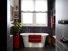 red bathroom decor ideas white stained wooden open cabinet black