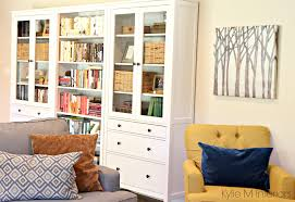 family room with ikea hemnes bookcase and bookshelf long wall