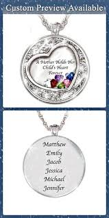 Mothers Necklaces With Children S Names Forever In A Mother U0027s Heart Heart Shaped Birthstone Pendant