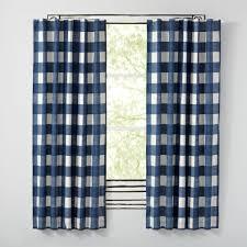 Blue Plaid Curtains Rugs Curtains White And Indigo Blue Plaid Blackout Curtains For
