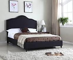 Full Platform Bed With Headboard Amazon Com Home Life Cloth Black Linen 51