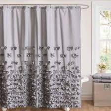 Bed Bath And Beyond Ruffle Shower Curtain - vintage ticking stripe shower curtain with ruffles 3 sizes