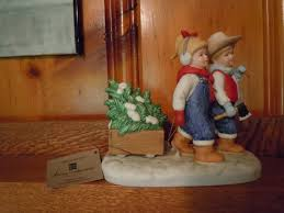 home interior figurines denim days figurine bringing home the tree w tag mint homco home