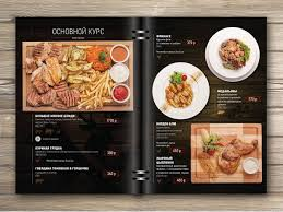 print design of menu for restaurant food photo collage
