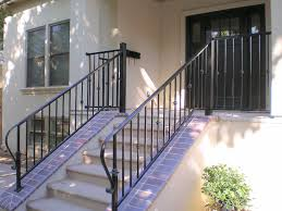 Exterior White Wood Paint - white concrete porch with stair and black metal railing plus white