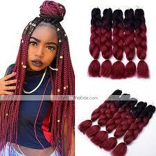 Light Brown Box Braids 5pcs Box Braids Jumbo Hair Extensions 1b Wine Red Color