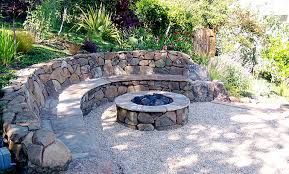 Backyard Stone Fire Pit by Hillside Firepit W Stone Bench I Love That The Other Side Is