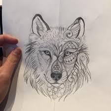 cool half tribal portrait wolf tattoo metallics gold silver
