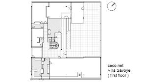 villa savoye le corbusier first floor in top or plan view