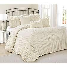 Ivory Comforter Set King Amazon Com Lush Decor 3 Piece Serena Comforter Set King Ivory