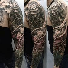 lifelike detailed colored sleeve tattoo of angry samurai warrior