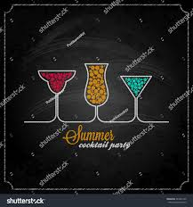 summer cocktail party design chalk background stock vector