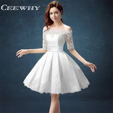 party dress white half sleeve gown embroidery lace special occasion