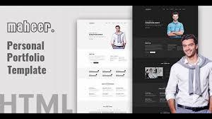 personal portfolio template maheer personal portfolio template themeforest website