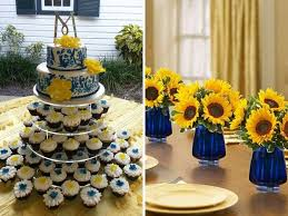 sunflower wedding decorations inspirations for blue and yellow wedding colors everafterguide