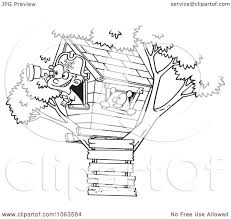 house outline clipart pirate boy in his tree house black and white outline