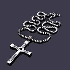 aliexpress cross necklace images Fast and furious dominic toretto silver crystal cross necklace for jpg